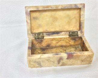 """Stone Box, 7"""" W x 3 1/4"""" H x 3 1/2"""" D."""