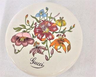 """Gucci Lidded Jar, 5"""" diameter."""