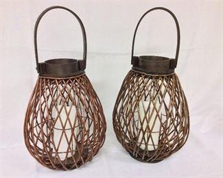 """Two Linyi Jinkun Wood Globes, 19"""" H."""