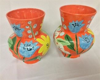 """Painted Vases, Julie Moon, 9"""" H."""