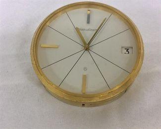 "Jaeger Lecoultre 383 Clock, 3 3/4"" diameter."