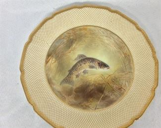 """Royal Doulton England, Tiffany & Company, New York, Antique """"Rocky Mountain Trout"""" Plate."""