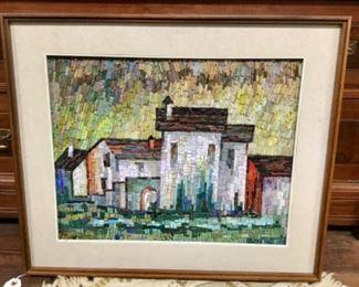"An Italian Mosaic Tile Picture ""Paesaggio"" 14 x 18."
