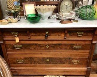 Antique Marble Top Dresser and Mirror.