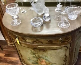 Antique Hand Painted Demi-Lune Chest and Lalique Glass.