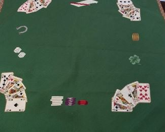 """Embroidered Game Table Topper, 42"""" x 43""""."""