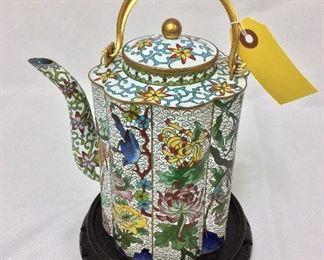"""Chinese Cloisonne Tea Pot, 8 1/2"""" H."""