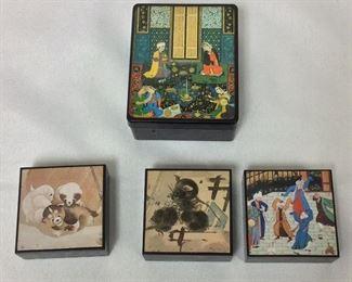 "Decorative Boxes, 2"" x 2"". Larger Box 2 3/4"" x 3 1/2""."
