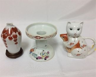 """Vase, 5"""" H. Candleholder, 4 1/2"""" H. Cat with Koi Fish Pitcher, 5"""" H."""