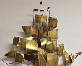"""Brass and Copper Metal Art Sailing Ship, 39"""" H."""