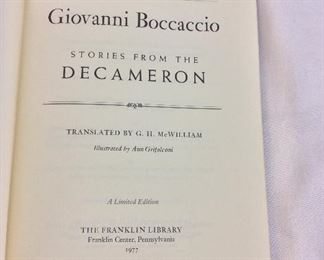 Giovanni Boccaccio, Stories from the Decameron. Limited Edition This limited edition is published by The Franklin Library exclusively for subscribers to The Collected Stories of the World's Greatest Writers. Bound in Leather. Gilt Edges. Satin Page Marker.