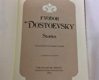 Fyodor Dostoevsky, Stories. Limited Edition This limited edition is published by The Franklin Library exclusively for subscribers to The Collected Stories of the World's Greatest Writers. Bound in Leather. Gilt Edges. Satin Page Marker.