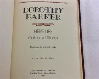 Dorothy Parker, Here Lies: Collected Stories. Limited Edition This limited edition is published by The Franklin Library exclusively for subscribers to The Collected Stories of the World's Greatest Writers. Bound in Leather. Gilt Edges. Satin Page Marker.