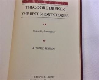 Theodore Dreiser, The Best Short Stories. Limited Edition This limited edition is published by The Franklin Library exclusively for subscribers to The Collected Stories of the World's Greatest Writers. Bound in Leather. Gilt Edges. Satin Page Marker.
