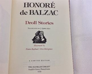 Honore de Balzac, Droll Stories. Limited Edition This limited edition is published by The Franklin Library exclusively for subscribers to The Collected Stories of the World's Greatest Writers. Bound in Leather. Gilt Edges. Satin Page Marker.