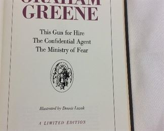 Graham Greene, This Gun for Hire, The Confidential Agent, The Ministry of Fear. Limited Edition This limited edition is published by The Franklin Library exclusively for subscribers to The Collected Stories of the World's Greatest Writers. Bound in Leather. Gilt Edges. Satin Page Marker.