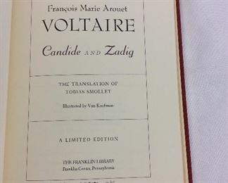Volaire, Candide and Zadig. Limited Edition This limited edition is published by The Franklin Library exclusively for subscribers to The Collected Stories of the World's Greatest Writers. Bound in Leather. Gilt Edges. Satin Page Marker.