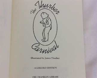 James Thurber, The Thurber Carnival. Limited Edition This limited edition is published by The Franklin Library exclusively for subscribers to The Collected Stories of the World's Greatest Writers. Bound in Leather. Gilt Edges. Satin Page Marker.