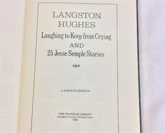 Langston Hughes, Laughing to Keep from Crying and 25 Jesse Semple Stories. Limited Edition This limited edition is published by The Franklin Library exclusively for subscribers to The Collected Stories of the World's Greatest Writers. Bound in Leather. Gilt Edges. Satin Page Marker.