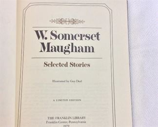 W. Somerset Maugham, Selected Stories. Limited Edition This limited edition is published by The Franklin Library exclusively for subscribers to The Collected Stories of the World's Greatest Writers. Bound in Leather. Gilt Edges. Satin Page Marker.