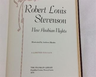 Robert Louis Stevenson, New Arabian Nights. Limited Edition This limited edition is published by The Franklin Library exclusively for subscribers to The Collected Stories of the World's Greatest Writers. Bound in Leather. Gilt Edges. Satin Page Marker.