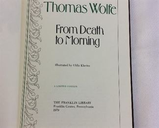 Thomas Wolfe, From Death to Morning. Limited Edition This limited edition is published by The Franklin Library exclusively for subscribers to The Collected Stories of the World's Greatest Writers. Bound in Leather. Gilt Edges. Satin Page Marker.