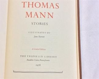 Thomas Mann, Stories. Limited Edition This limited edition is published by The Franklin Library exclusively for subscribers to The Collected Stories of the World's Greatest Writers. Bound in Leather. Gilt Edges. Satin Page Marker.