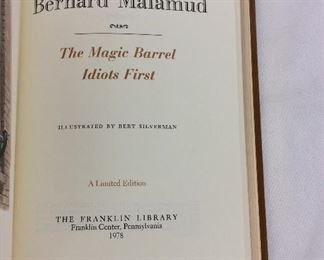 Bernard Malamud, The Magic Barrel, Idiots First. Limited Edition This limited edition is published by The Franklin Library exclusively for subscribers to The Collected Stories of the World's Greatest Writers. Bound in Leather. Gilt Edges. Satin Page Marker.