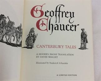Geoffrey Chaucer, Canterbury Tales. Limited Edition This limited edition is published by The Franklin Library exclusively for subscribers to The Collected Stories of the World's Greatest Writers. Bound in Leather. Gilt Edges. Satin Page Marker.