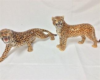 """Porcelain Leopards, 18"""" L and 14"""" L."""