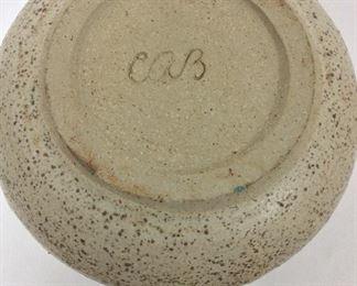 "Signed Lidded Pottery Jar, 9"" H."