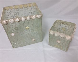 """Glass Mosaic and Shell Waste Basket, 10 1/2"""" H, and Kleenex Box Holder, 6 1/4"""" H."""