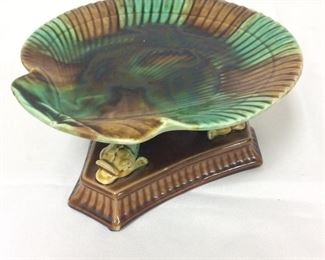 """Porcelain Fish Base and Shell Tray Compote, 4"""" H and 9"""" W."""