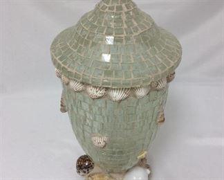 "Glass Mosaic and Shell Lidded Jar, 18"" H."