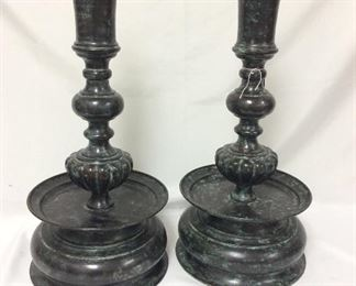 """Maitland-Smith Bronze Finish Candlesticks in the 17th Century Nuremberg Style, 22 1/2"""" H. Designed and Hand Made in Thailand."""