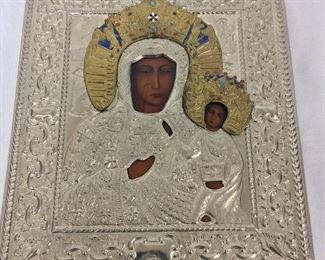 """Lady of Czestowchowa Black Madonna, 10"""" x 12""""."""