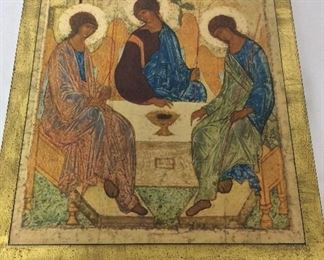 """The Trinity, Andrei Rublev, 12 1/2"""" x 15 1/2"""". Mounted on 3/4"""" wood."""