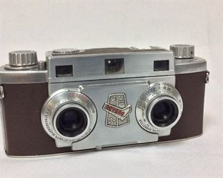 Revere Stereo 33 Camera. Wollensak Amaton 35mm f/3.5 Lenses. Serial No. V-14616. With Leather Case.