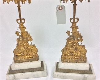 """Antique Gilded Bronze and Marble Candlesticks, 14 1/2"""" H."""