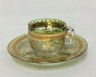 Moser Art Glass Demitasse Cup and Saucer.