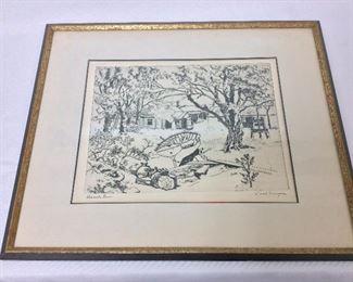 "Lionel Barrymore, ""Shoreside Farm"". Framed 17"" x 15""."