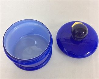 "Steuben Glass Lidded Jar with Calcite Interior, 5 1/2"" H."