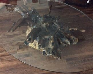 """Mid Century Tree Root Coffee Table. Oval Glass Top Measures 48"""" x 72""""."""