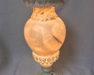 "Alabaster Lamp, 19"" H."