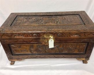 """Asian Carved Trunk, 27"""" W x 14"""" H x 13"""" D."""