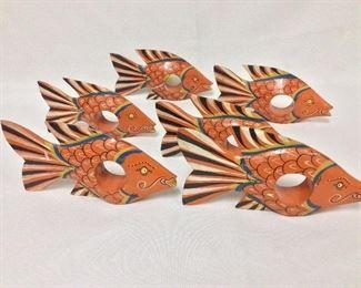 "Wooden Fish Napkin Holders, 6 1/2"" L."