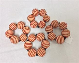 """Carved Wooden Ball Napkin Holders, 3"""" W."""