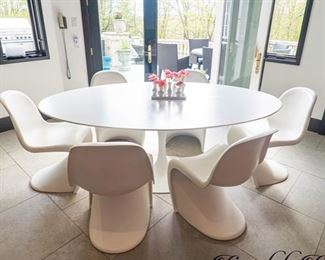 EERO SAARINEN ROUND KITCHEN TABLE $2800 OR BEST OFFER WITH 6 VERNER PANTON CHAIRS $1400...CHAIRS & TABLE SOLD SEPARATELY OR COMBINED...BEST OFFERS CONSIDERED *****THIS SET IS ON HOLD*****