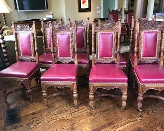 25% off Now: $1500  Was: $1995 Dining Chairs 2 Arm & 8 Side (set of 10)  circ. 1890s                            Jones & Higgins Ltd. Peckham London