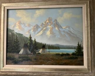 "Heinie Hartwig ""Native American Village"" 18x24 - $3,500"